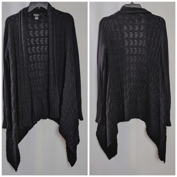 Lucky Brand Sweaters - Lucky Brand Black Cardigan Open Knit Sweater Sz S